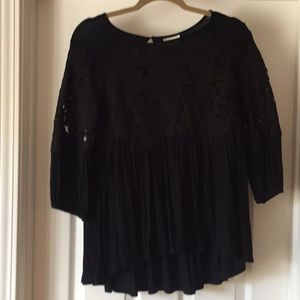 Anthropologie Black Lace High-Low Top